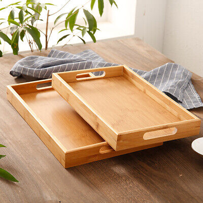 $9.59 • Buy Square Wood Serving Tray Food Tea Table Tray Bamboo Coffee Plate Breakfast Snack