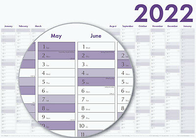 2020 Year Wall Planner - Yearly Annual Calendar Chart A2 Size Large Grey • 2.50£