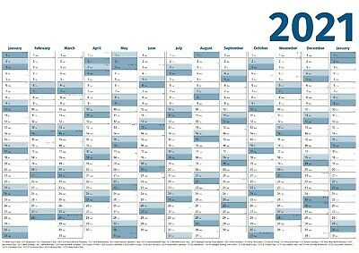 £2.75 • Buy 2021 Year Wall Planner - Yearly Annual Calendar Chart A2 Size Large Blue