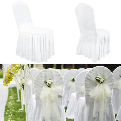£229.99 • Buy 25x Pleated Skirt Dining CHAIR COVERS Wedding Spandex Slip Cover Stretch 200GSM