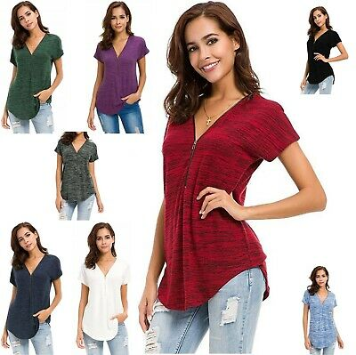 £8.99 • Buy Women's Short Sleeve Zip Up V Neck Curve Hem Relaxed Fit Tunic Top T Shirt