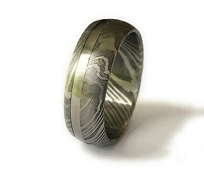 £44.99 • Buy Damascus Steel Ring Band TITANIUM Outer Liner HANDMADE All Sizes Available