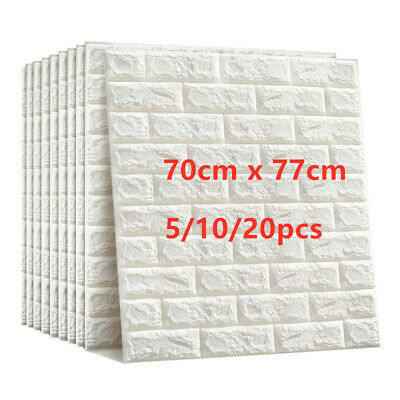 Large 3D Tile Brick Wall Sticker Self-adhesive Waterproof Foam Panel Wallpaper • 12.99£