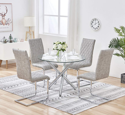 Nova Clear Round Glass Dining Table Metal Leg Dining Room Chrome Cafe Furniture • 89.99£