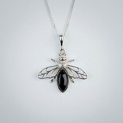 £48 • Buy Whitby Jet Sterling Silver Bee Pendant With 18inch Chain