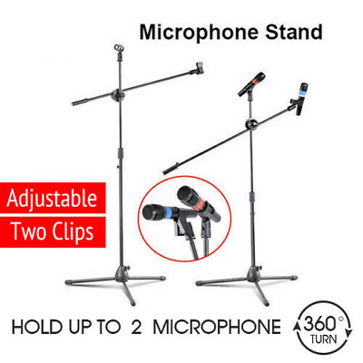 2x Pro Telescopic Boom Arm Microphone Stand Adjustable With 2 Mic Holder Tripod • 9.99£