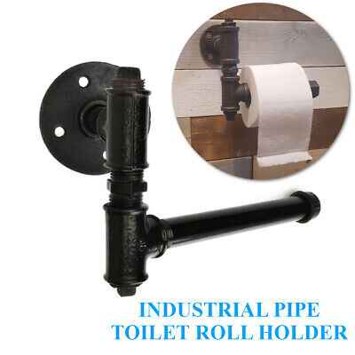 AU16.99 • Buy Industrial Vintage Iron Pipe Toilet Paper Roll Holder Washroom Wall Mount Decor