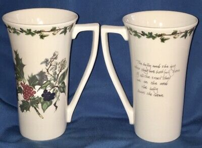 Two (2) Mint Portmeirion The Holly & The Ivy Ceramic Latte Coffee Mug Cup Beaker • 92$
