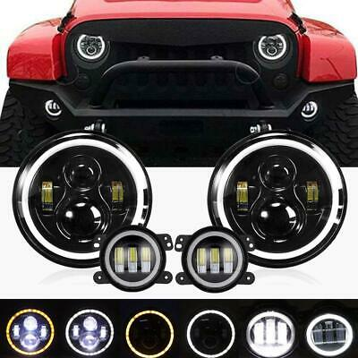 AU113.87 • Buy For Jeep Wrangler JK 2007-2016 7inch LED  Angel Headlight Hi/Lo&4  Fog Light
