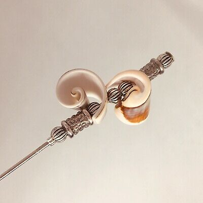 Sea Shell Vintage Antique Silver Style Hat Pin 5  With Pin Protector** • 6.50£