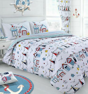 Kids Nautical Seaside Beach Hut Sail Reversible Duvet Cover Bedding Set • 14.95£