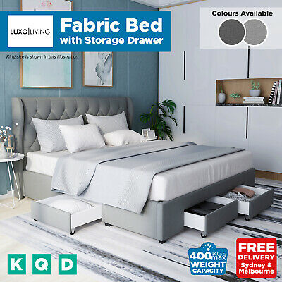 AU309 • Buy Luxo Upholstered Fabric Winged Bed Frame With Storage Drawers King Queen Double