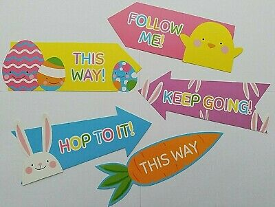 15 Easter Egg Hunt Arrow Signs Children Trail Hunting Game Decorations Kids Fun • 3.49£