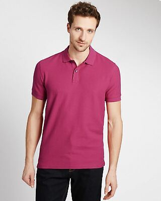 £6.25 • Buy Mens Marks & Spencer Polo Shirt Ex Chain Store M&S Pink Turquoise Wine Orange