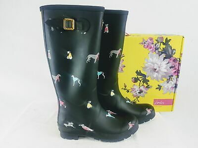 JOULES Women's Welly Dog Print Rain Boots In Black - Sizes 39/8 & 42/10 • 49.99$