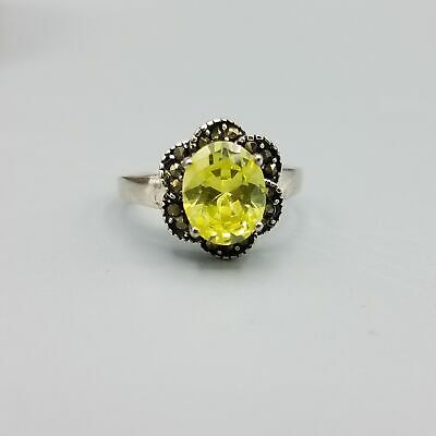 $29.40 • Buy Charles Winston 2.5ct Peridot CZ & Marcasite Floral Sterling Silver Ring Sz 8.5