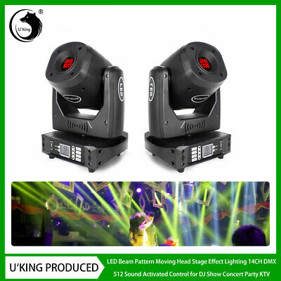 2x U`king 90W LED Beam Stage Light Rotate Gobo Pattern Moving Head DMX DJ Party • 363.99£