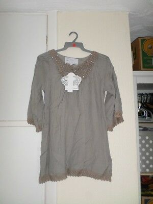 AU10.97 • Buy Y London Y802 Ladies Beige Neck Hem Crochet Lace Tunic Top Size L/12