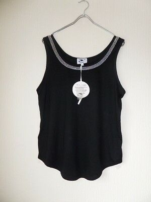 AU9.14 • Buy Y London Y472 Ladies Black Sleeveless Embellished Vest Top Size L/12