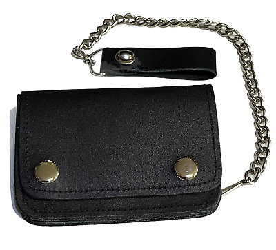 £14.99 • Buy Mens Biker Black Leather Wallet With Security Chain Strap