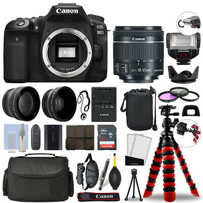 AU1689.28 • Buy Canon EOS 90D DSLR Camera With 18-55mm STM+ 16GB 3 Lens Ultimate Accessory Kit