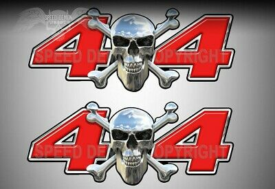 $13.99 • Buy 4x4 Truck Decals Chrome Skull Red Truck Side Vinyl Graphic Decals 2pack SD101NO4