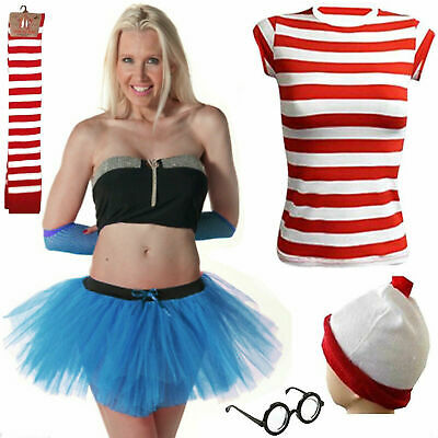 Men's  Women's New Outfit Red & White Fancy Dress Kit Set Book Week Day Costume • 5.89£