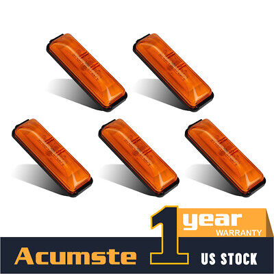 5X 4  Amber LED Clearance RV Trailer Side Marker Light W/Base DOT Mount 4LED 12V • 12.12$