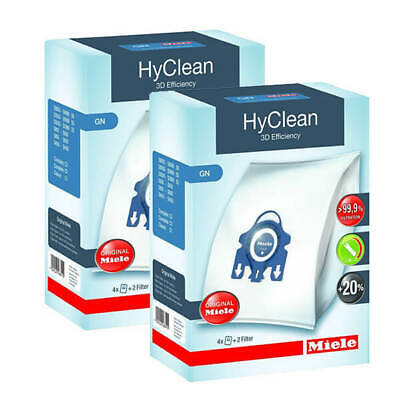 8 X Genuine MIELE GN HyClean 3D Vacuum Cleaner Hoover DUST BAGS & 4 X Filters • 20.40£