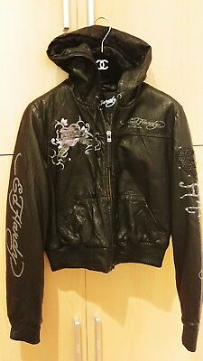 Ed Hardy Black Genuine Leather Hoodie Jacket, Size XS • 160£