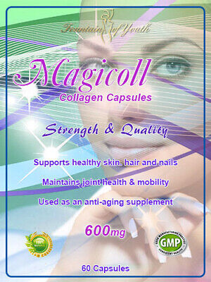 MAGICOLL 600mg PURE COLLAGEN FOR  SKIN TISSUE JOINTS ANTI-AGEING 60 CAPSULES • 7.25£