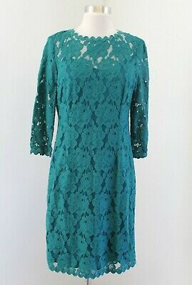 $ CDN44.39 • Buy Ivanka Trump Womens Teal Blue Green Floral Lace 3/4 Sleeve Cocktail Dress Size 8