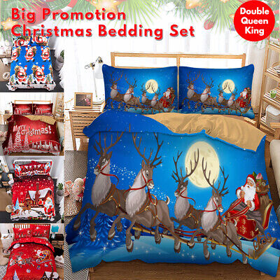 AU31.99 • Buy Christmas Quilt Doona Duvet Cover Set Double/Queen/King Size Bedding Pillowcases
