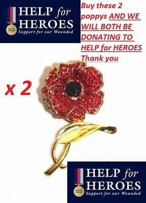 £7.99 • Buy 2 X Crystal Remembrance Red Poppie Flower Lapel Pin Brooch Badge Help For Heroes