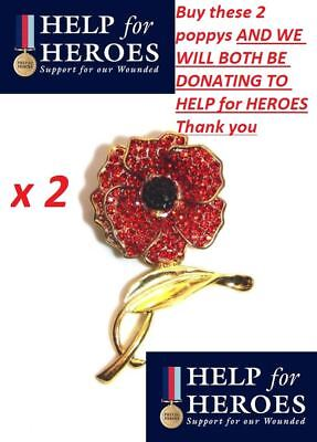 £7.99 • Buy 2 X Crystal Remembrance Red Poppy Flower Lapel Pin Brooch Badge Help For Heroes