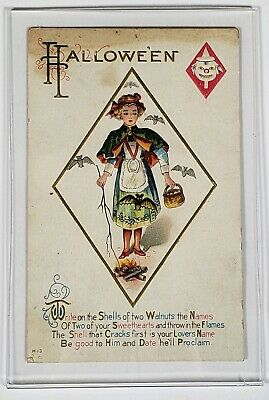 $ CDN108.62 • Buy Vintage Antique 1900's Halloween Post Card Holiday Girl In Dress Bats Quote