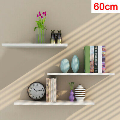 Pack Of 3 White Floating Wooden Wall Shelves Shelf Wall Storage Display 60cm • 18.39£