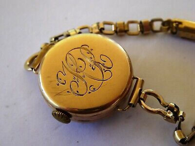 Antique Art Deco 1920s  9ct Gold Ladies Swiss Wrist Watch On Bracelet   • 133.97£