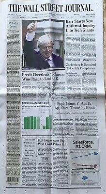 $4.95 • Buy Wall Street Journal Collectible Newspaper Boris Johnson Prime Minister Britain