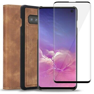 AU23.74 • Buy Samsung Galaxy S10+ S10 REAL Leather Case Wallet,Tempered Glass Screen Protector