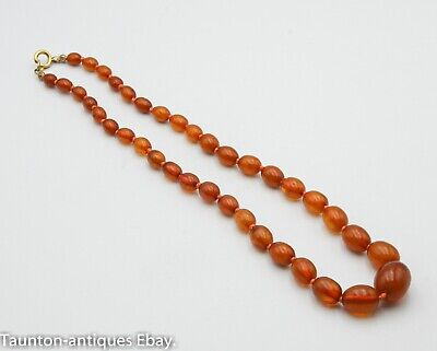 Antique Egg Yolk Butter Scotch Honey Amber Knotted Bead Necklace 15.8 G  • 185£