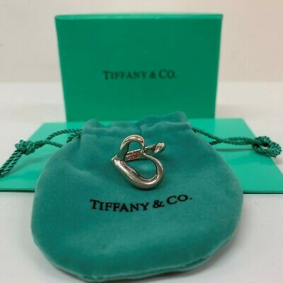 Authentic! Beautiful Silver Tiffany & Co Ring Ladies Girls Open Heart   Size I • 65£