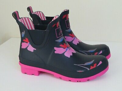 Joules Pull On Rain Boots Wellibob Navy Multi Floral New Size 6 • 48.99$