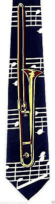 Trombone Men's Necktie Brass Musical Instrument Musician Music Blue Neck Tie  • 15.95$