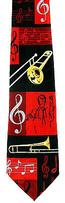 Brass Conductor Men's Necktie Musical Instrument Trombone Music Note Neck Tie  • 15$