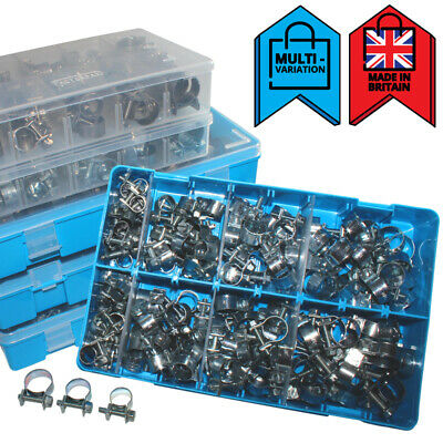 £13 • Buy Mini Fuel Line Clips Jubilee Hose Pipe Clamps For Air Petrol | Assortment Boxes