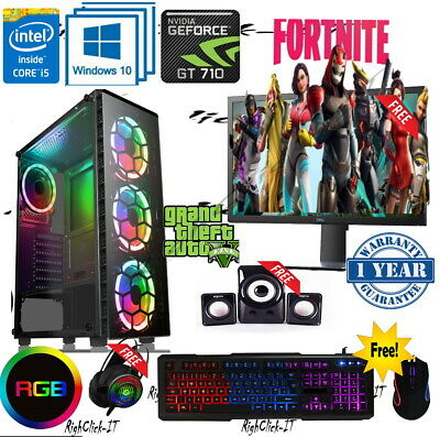 Fast Gaming PC Computer Bundle Quad Core I5 16GB 1TB Win10 2GB GT710 • 319.99£