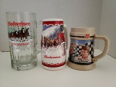 $ CDN6.21 • Buy Set Of 3 Budweiser Collectable Mugs Steins Glasses Excellent Condition