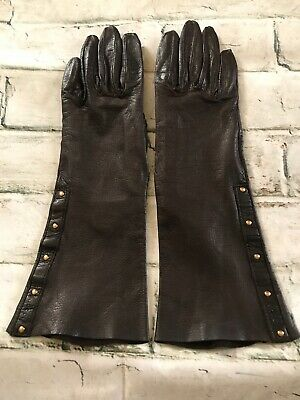 £158.23 • Buy FAB! Vintage 100% Authentic Gucci Chocolate Brown Leather Gloves Size 6.5 Italy
