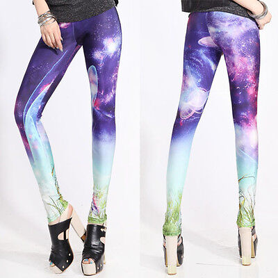 £8.51 • Buy Women's Galaxy Punk Cosmic Print Planet Leggings Slim Stretchy Pants Trousers OS